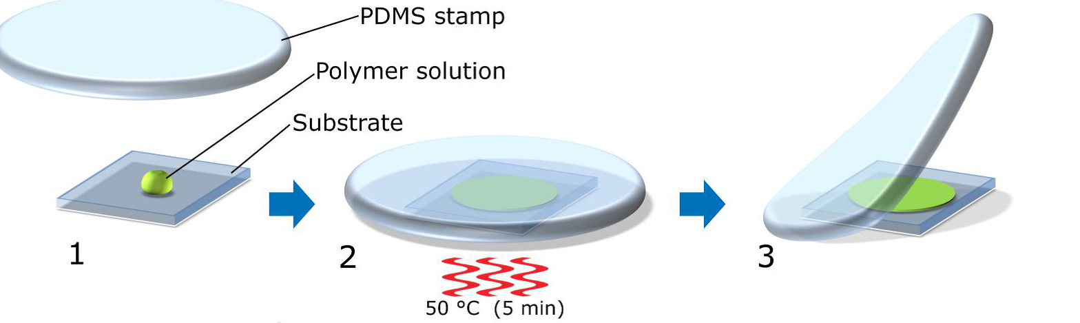 Fig. 1 Push coating devices onto substrates with polydimethylsiloxane (PDMS) films.  1. Deposit approximately 5 microliters of solution on a substrate; 2. Press the PDMS stamp against it. 3. Wait for the solvent to diffuse inside PDMS and remove PDMS.