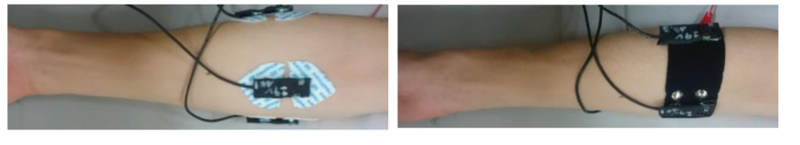 Ag/Agcl electrodes vs. PPy electrodes worn on similar regions of the arm.